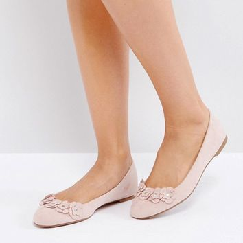 London Rebel Flower Trim Slipper Shoes at asos.com