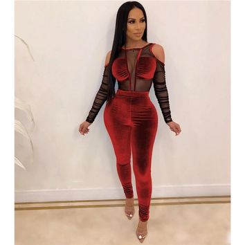 Women Sexy Sheer Mesh Patchwork Velvet Long Sleeve Jumpsuit
