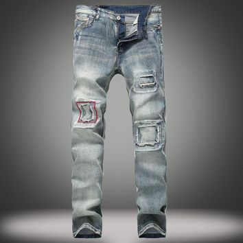 Men's Fashion Blue Slim Jeans [1922679963741]