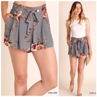 Gray Floral Print Shorts with Waist Tie