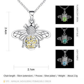 Silver Plated Glow In The Dark  Hollow  Moth Collar Pendants Necklace