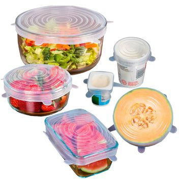 6 Pcs/set Reusable Silicone Stretch Lids Kitchen Food Cover Wraps Microwave Oven Safe BPA Free Vacuum Lids For Can bottle