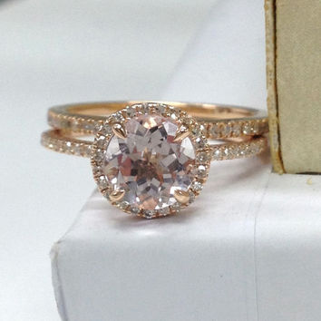 Wedding Ring Set!Morganite Engagement Ring with Diamond Half Eternity Band 14K Rose Gold,7mm round cut Morganite,Stackable Matching Band