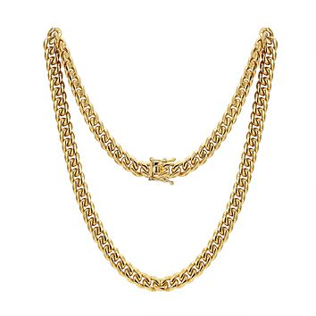 "Men's Stainless Steel 14mm Miami Cuban Link 14k Gold Finish Chain 30"" Plain Designer Necklace"