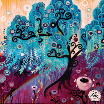 Swirly Willow Tree Folk Art LIMITED Edition Canvas Print by Natasha Wescoat - blue leaf