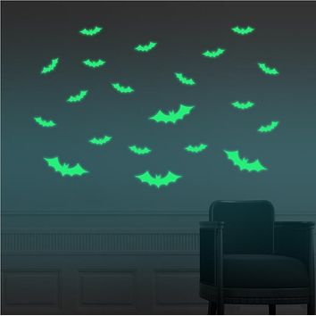 Glowing In The Dark Eyes Witch Wall Glass Sticker Halloween Decoration Decals Luminous Home Ornaments- Green