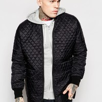 ASOS Longline Quilted Bomber Jacket In Black at asos.com