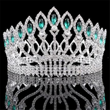 Baroque Diadem Rhinestone Queen King Bride Tiara Crown Jewelry Headdress Bridal Wedding Tiaras and Crowns Hair Accessories