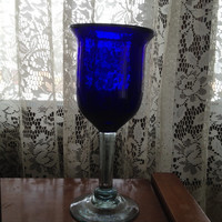 Cobalt Glass Water Goblet Clear Stem Blown Heavy Thick Deep Color Old Vintage