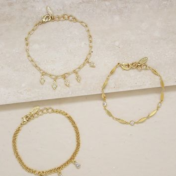 Triple Threat Crystal Bracelet Set of 3 in Gold