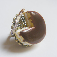 Scented or Unscented Boston Cream Pie Miniature Food Ring - Miniature Food Jewelry,Handmade Jewelry Ring