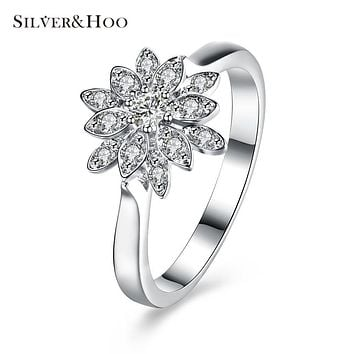 SILVERHOO 925 Sterling Silver Luxury Zircon Flower Rings for Women Girls Gift Clear Crystal Wedding Ring Fine Jewelry
