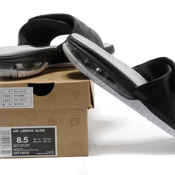 Nike Air LeBron Slide 78251460 Black/White Casual Sandals Slipper Shoes Size US 7-11