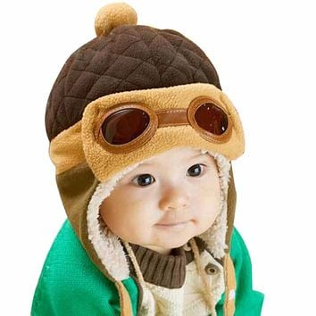 07cdeeebbd2 Baby Pilot Hat Cool Winter Warm hat for Baby