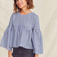 Urban Renewal Remade Bell-Sleeve Gingham Top | Urban Outfitters