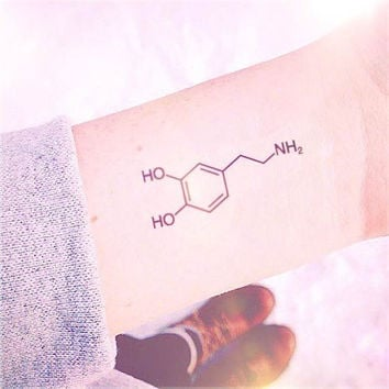 2pcs Chemistry of Love Dopamine Formula tattoo - InknArt Temporary Tattoo - wrist quote tattoo sticker fake tattoo wedding tattoo small