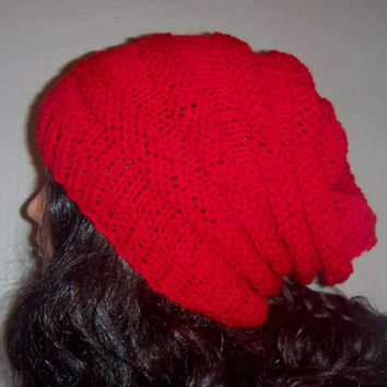 Red Knit Hat, beehive style, Womans Hat