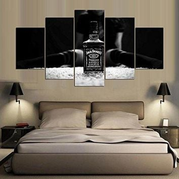 [Medium] Premium Quality Canvas Printed Wall Art Poster 5 Pieces / 5 Pannel Wall Decor jack daniels Painting, Home Decor Pictures - With Wooden Frame
