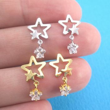 Stargazer Rhinestone Stars Star Outline Shaped Stud Earrings in Gold or Silver