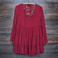 baby doll tiered long sleeve boho dress in burgundy