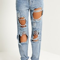 Marri Blue Extreme Rip Jeans - Jeans - PrettylittleThing   PrettyLittleThing.com