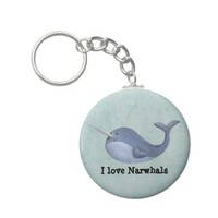 I love Narwhals -custom text - Key Chain from Zazzle.com
