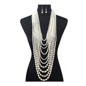 Women's Ten Multi-Strand Simulated Pearl Statement Necklace and Earrings Set in Cream Color