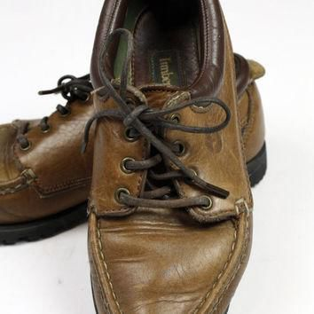1980s Timberland boat shoes / womens size 6.5 6 and 1/2 / brown leather / topsiders /