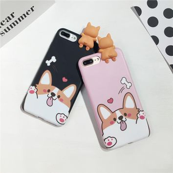 3D Animals Cases Capa For iPhone 7 Lovely Tummy Corgi Puppy Phone Cover Cute Cartoon Mobile Phone Shell Dog Pet Toys Fundas