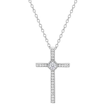 925 Sterling Silver Clear CZ Religious Cross Pendant Necklace for Women 19""