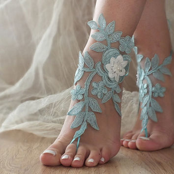 Aqua Blue Barefoot Sandals, french lace, Nude shoes, Gothic, Foot jewelry,Wedding, Victorian Lace, Sexy, Yoga, Anklet , Belly Dance