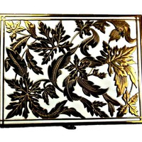 Rex Fifth Avenue Art Nouveau Powder Compact  White Enamel and Brass Leaves with Mirror
