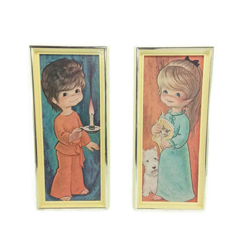 Vintage 70's Set of Jandro Framed Litho Prints,Bedtime Boy and Girl, Kitsch,Nursery Childs Room,Home Decor,Wall Hanging,Retro Art, Big Eyed