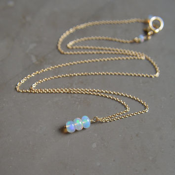 Ethiopian Opal Necklace on Gold