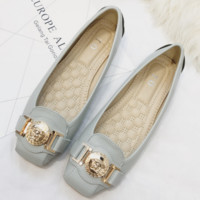 New street style fashion shoes metal fasteners comfortable flat large size women's single shoes
