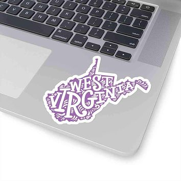 West Virginia State Shape Sticker Decal - Purple