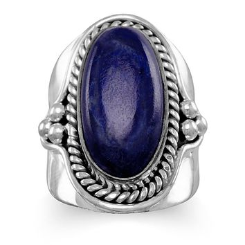 Sterling Silver Large Oval Lapis Ring