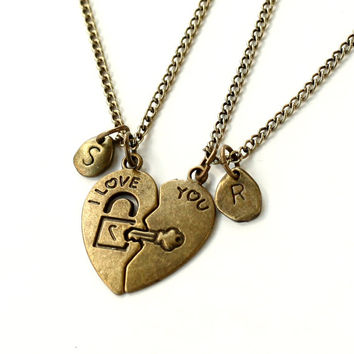 Heart Key initial Necklace,  antique brass key to my heart, I love you, His and Her Necklaces, Heart, Key Pendant ,Boyfriend Girlfriend Gift