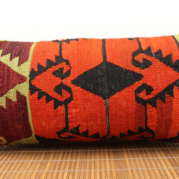 Decorative Lumbar kilim pillow 12 x 24  Throw Pillow vintage Pillow accent Pillow Handwoven Turkish Kilim  yellow red green colour D-87