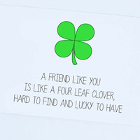 Thinking of you, Cute Card, For a Friend, Anytime, Four Leaf Clover