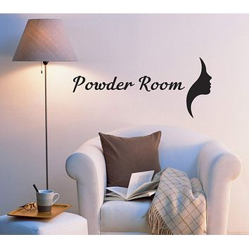 Vinyl Wall Decal Powder Room Bathroom Decor Stickers Quote Words Letters ig5541 (22.5 in x 10 in)