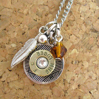 Bullet casing necklace - Ammo charm with amber crystal and silver feather - charm necklace