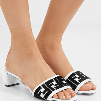 Fendi - Logo-flocked velvet and leather mules