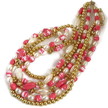 Vintage Boho Bead Necklace, Multistrand Pink, White, Gold Tone Beaded Necklace