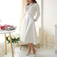 White Knitted Long Sleeve Dress