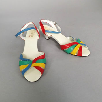 Vintage Retro Size 8 Sexy Strappy Peep Toe Rainbow Pumps Leather High Heel Summer Sandals Dancing Shoes Pin Up Flapper Burlesque Hipster