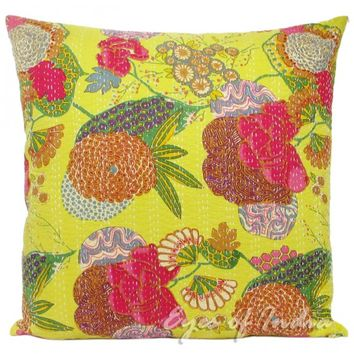 "24"" Large Yellow Floral Kantha Throw Pillow Cushion Cover"