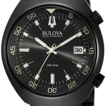 Bulova Men's 'Accutron II' Quartz Stainless Steel Automatic Watch Color:Black...