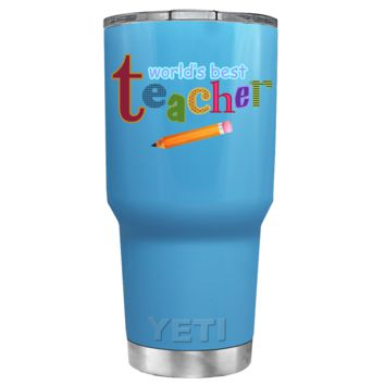 YETI 30 oz Worlds Best Teacher on Baby Blue Gift Tumbler