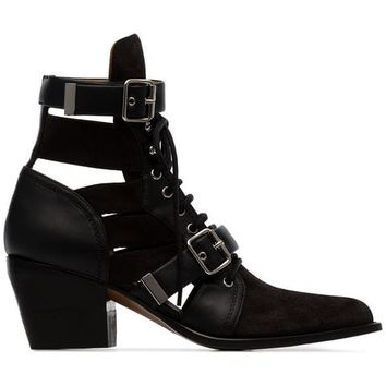 Chloé Black Reilly 60 Suede Leather Boots - Farfetch